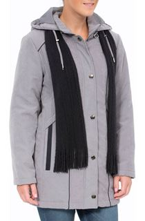 Anna Rose Hooded Coat With Scarf - Steel