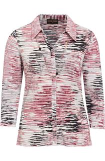 Anna Rose Printed Pleat Blouse With Necklace