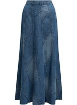 Panelled Pull On Denim Maxi Skirt