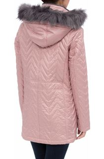 Anna Rose Faux Fur Trim Quilted Coat - Pink