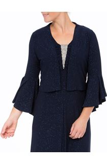Glitter Frill Sleeve Open Cover Up - Midnight