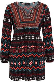Embroidered And Print Knit Top