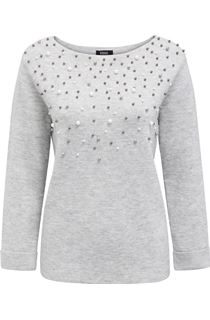 Faux Pearl Embellished Knit Top