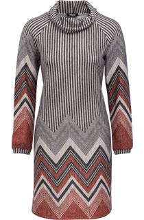 Zig Zag Cowl Neck Knitted Long Sleeve Midi Dress