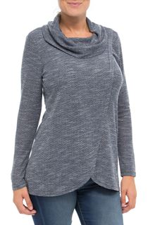 Cowl Neck Wrap Over Knit Top - Blue