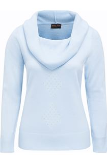 Anna Rose Cowl Neck Embellished Knit Top