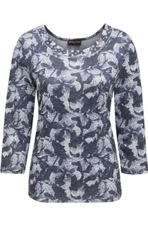 Anna Rose Printed Three Quarter Sleeve Knit Top