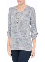 Anna Rose Tab Sleeve Top With Necklace