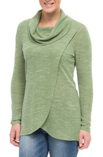 Cowl Neck Wrap Over Knit Top - Herb Green