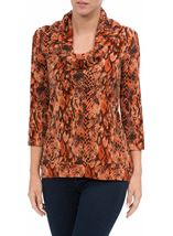Animal Printed Brushed Knit Cowl Neck Top