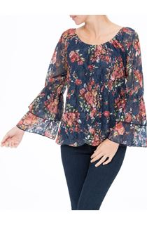 Floral Lace Layered Long Sleeve Top