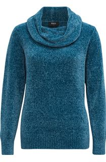 Cowl Neck Long Sleeve Chenille Top - Kingfisher