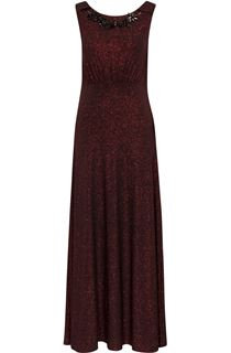 Sleeveless Glitter Maxi Dress With Necklace