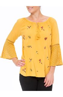 Embroidered Three Quarter Bell Sleeve Top