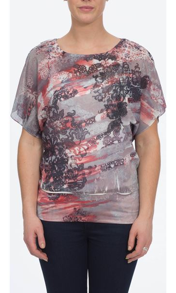 Sublimation Print Top Taupe/Coral