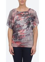 Sublimation Print Top Taupe/Coral - Gallery Image 1