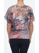 Sublimation Print Top Taupe/Coral - Gallery Image 2