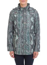 Snake Print Coat Glade Green - Gallery Image 1