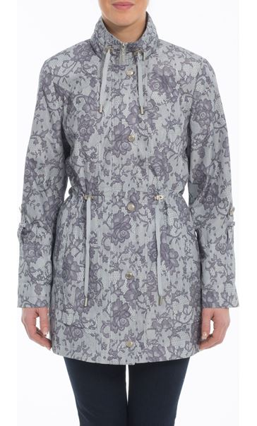 Lace Effect Coat Silver