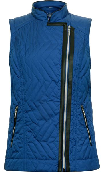 Faux Leather Trim Biker Gilet Cobalt
