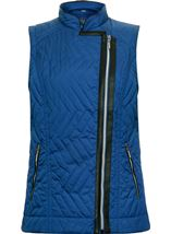Faux Leather Trim Biker Gilet Cobalt - Gallery Image 1