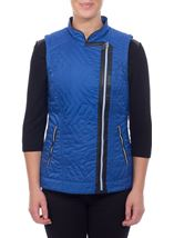 Faux Leather Trim Biker Gilet Cobalt - Gallery Image 2