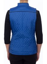 Faux Leather Trim Biker Gilet Cobalt - Gallery Image 3