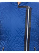 Faux Leather Trim Biker Gilet Cobalt - Gallery Image 4