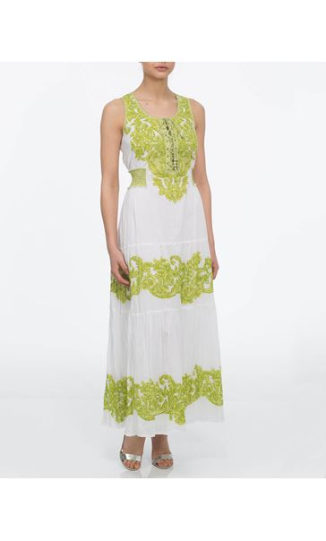 Floral Baroque Maxi Dress White/Lime