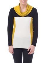 Cowl Neck Knit Top Cream/Lime/Black - Gallery Image 1