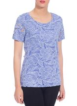 Anna Rose Burn Out Leaf Top Purple - Gallery Image 1