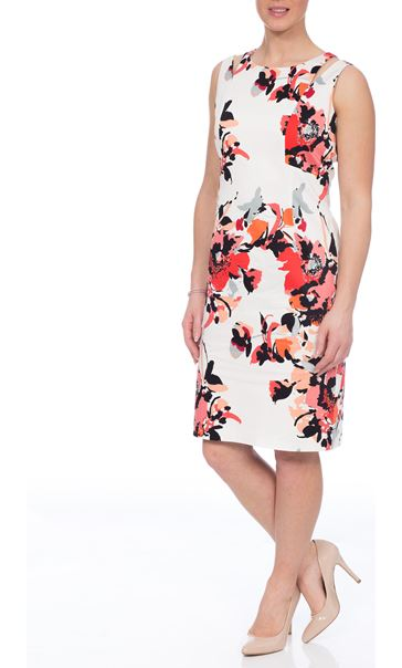 Fitted Floral Dress Coral Multi