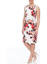 Fitted Floral Dress Coral Multi - Gallery Image 1