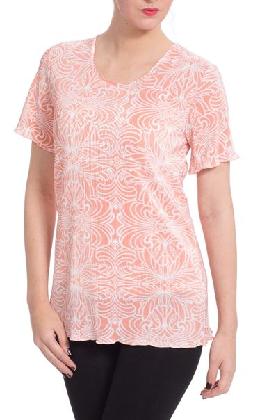 Anna Rose Printed Pleat Top Coral/White