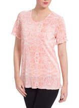 Anna Rose Printed Pleat Top Coral/White - Gallery Image 1