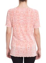 Anna Rose Printed Pleat Top Coral/White - Gallery Image 2
