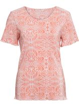 Anna Rose Printed Pleat Top Coral/White - Gallery Image 4