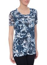 Anna Rose Embellished Top Navy/White - Gallery Image 2