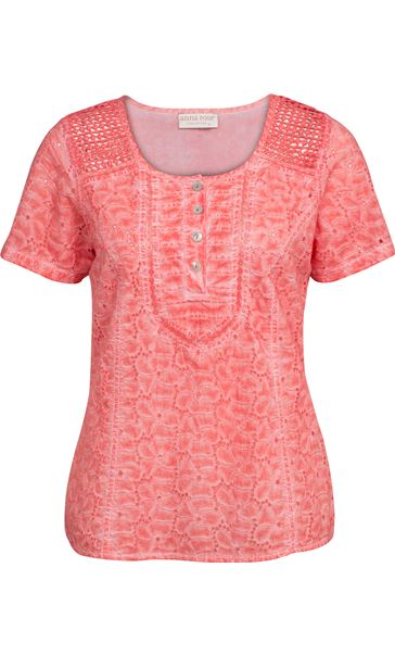 Anna Rose Broidery Anglaise Top Coral
