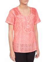 Anna Rose Broidery Anglaise Top Coral - Gallery Image 2