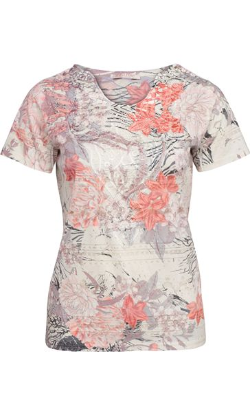 Anna Rose Burn Out Print Top Coral/Taupe