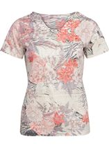 Anna Rose Burn Out Print Top Coral/Taupe - Gallery Image 1