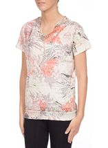 Anna Rose Burn Out Print Top Coral/Taupe - Gallery Image 2
