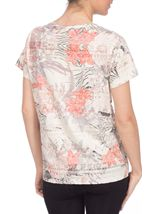 Anna Rose Burn Out Print Top Coral/Taupe - Gallery Image 3