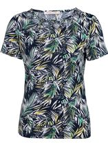 Anna Rose Leaf Print Top Navy/Green - Gallery Image 1
