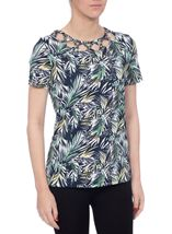 Anna Rose Leaf Print Top Navy/Green - Gallery Image 2