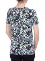 Anna Rose Leaf Print Top Navy/Green - Gallery Image 3