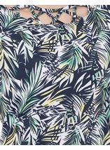 Anna Rose Leaf Print Top Navy/Green - Gallery Image 4