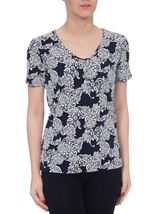 Anna Rose Lace Print Top Navy/Ivory - Gallery Image 2