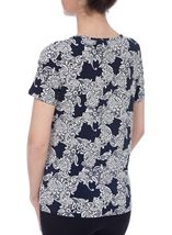 Anna Rose Lace Print Top Navy/Ivory - Gallery Image 3
